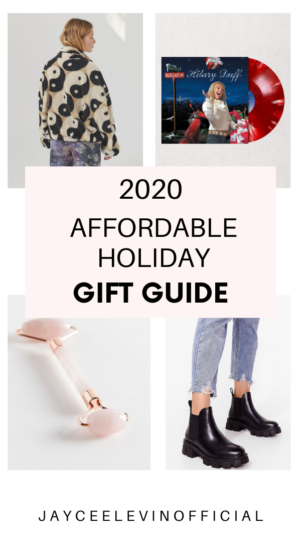 2020 affordable holiday gift guide, cozy sherpa, Christmas album, face roller, chunky boots